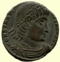 Roman bronze coin, SPC Ihnasyah Hoard, Constantine I (306-337AD), Constantinople, Royal Ontario Museum ANC10760;