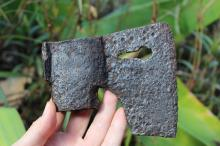 European Medieval German, iron Axe with the key-shape hole #13