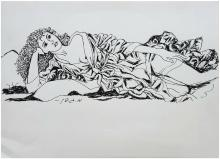Menachem Gueffen: reclining nude with a robe / Israeli/British/French realism. Print