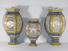 Three Antique Chinese Porcelain Lanterns
