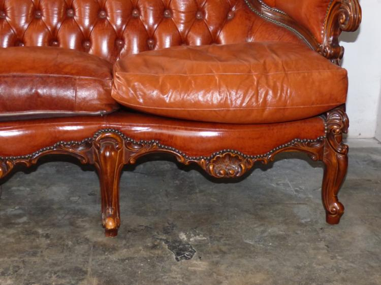 Italian Louis Xvi Style Leather Carved Wood Sofa