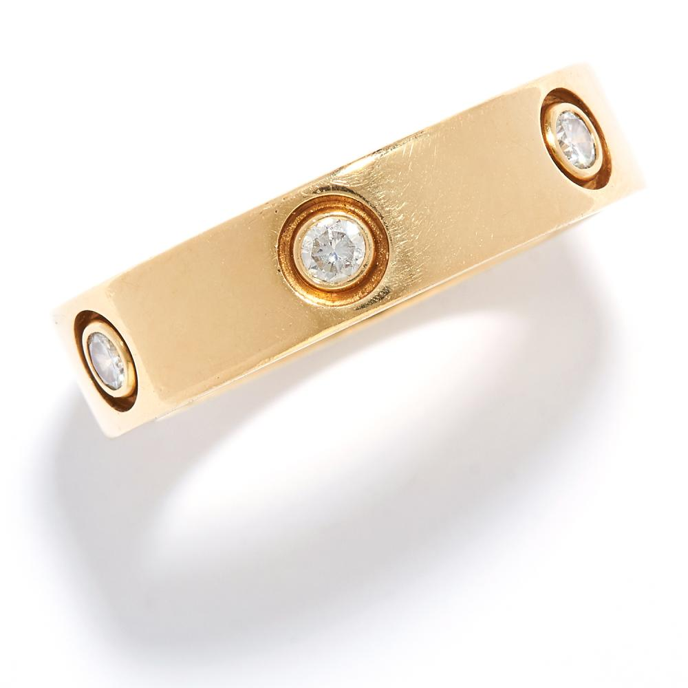DIAMOND LOVE RING, CARTIER in 18ct yellow gold, set with six