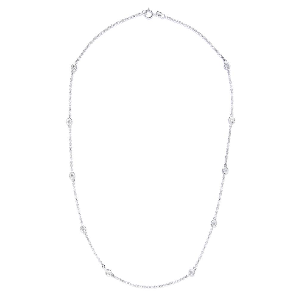 1.85 CARAT DIAMOND CHAIN NECKLACE in 18ct white gold, set with ten round cut diamonds totalling approximately 1.85 carats, stamped 750, 46cm, 5.73g.