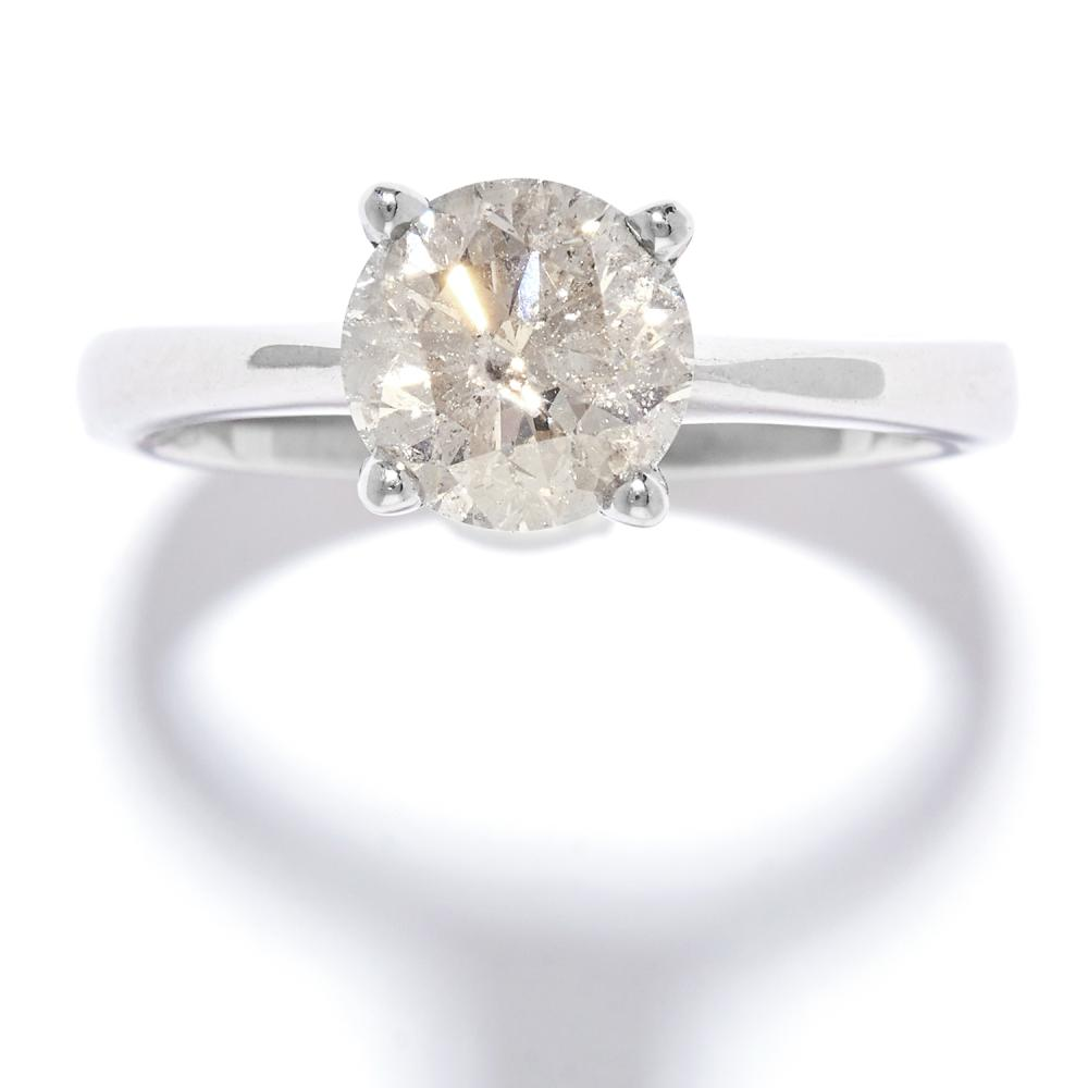 1.53 CARAT SOLITAIRE DIAMOND RING in 18ct white gold, set with a round cut diamond of approximately 1.52 carats, stamped 750, size L / 5.5, 4.01g.