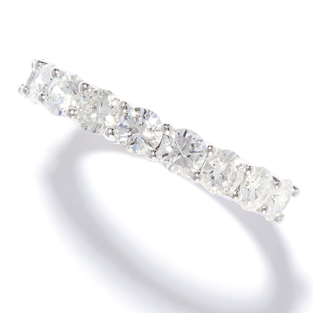 1.02 CARAT DIAMOND RING in 18ct white gold, set with nine round cut diamonds totalling approximately 1.02 carats, stamped 750, size N / 6.5, 3.74g.