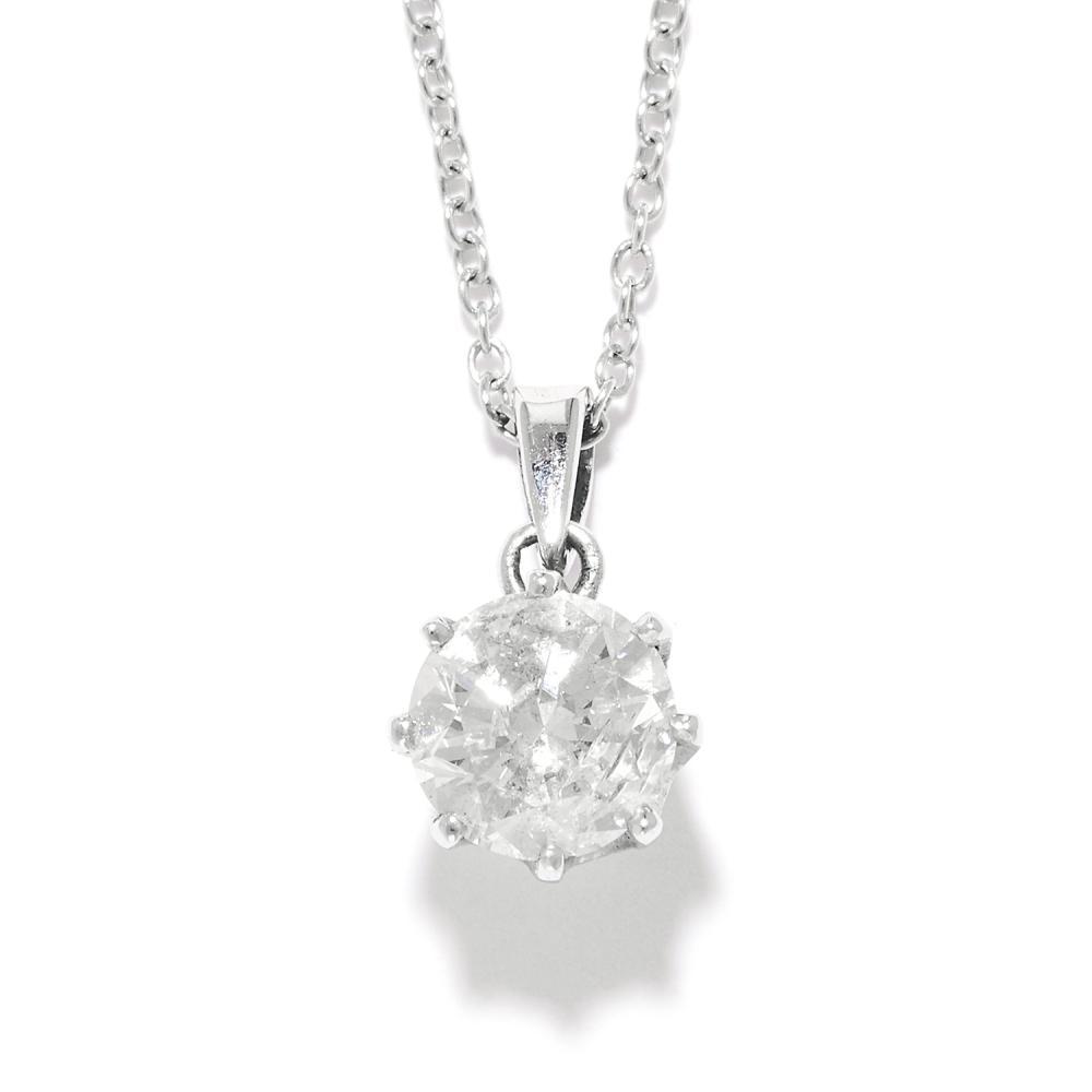 0.94 CARAT SOLITAIRE DIAMOND PENDANT in 18ct white gold, set with a single round brilliant cut diamond, Italian marks to chain, 1.3cm, 2.1g.