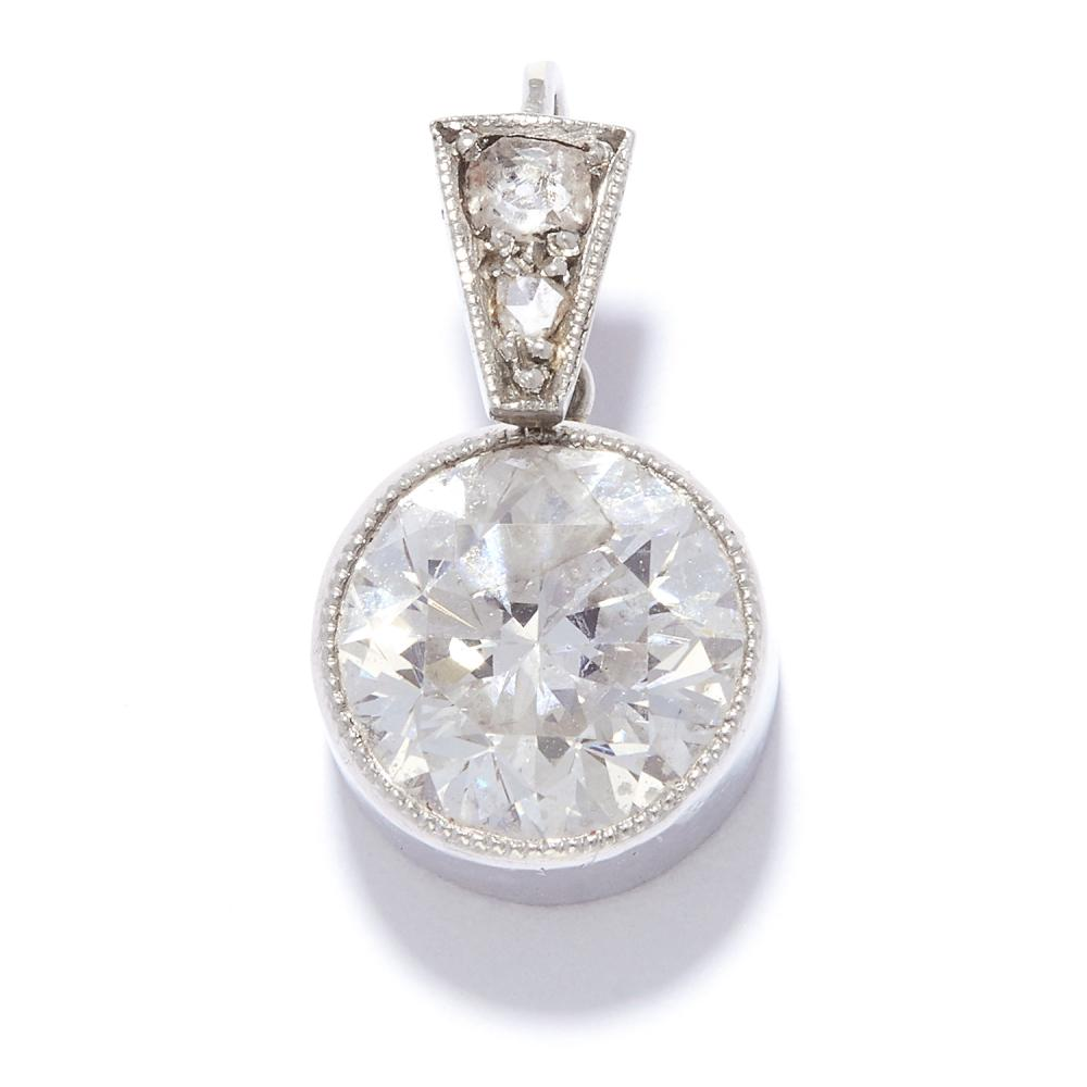 1.60 CARAT SOLITAIRE DIAMOND PENDANT in white gold or platinum, set with a round cut diamond of approximately 1.60 carats, with further rose and old cut diamonds to the bail, unmarked, 1.8g.