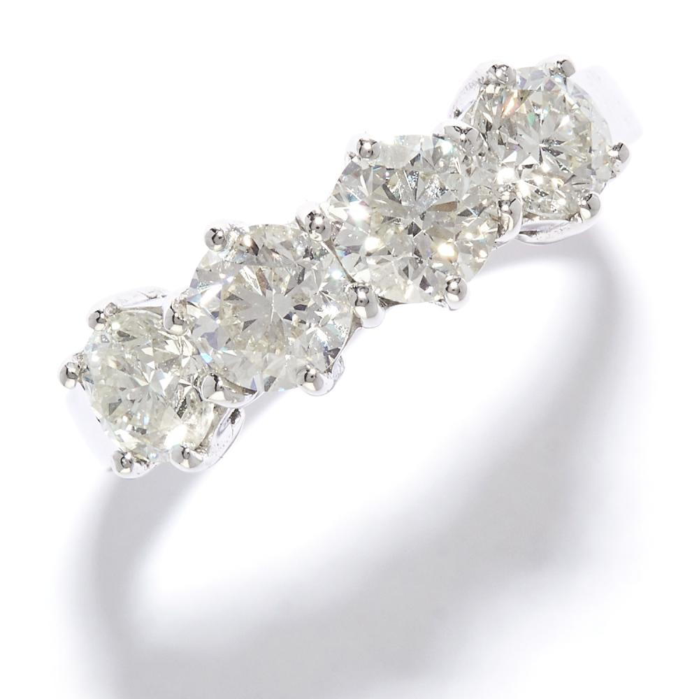 1.85 CARAT FOUR STONE DIAMOND RING in 18ct white gold, set with four round cut diamonds totalling approximately 1.85 carats, stamped 750, size N / 6.5, 3.41g.