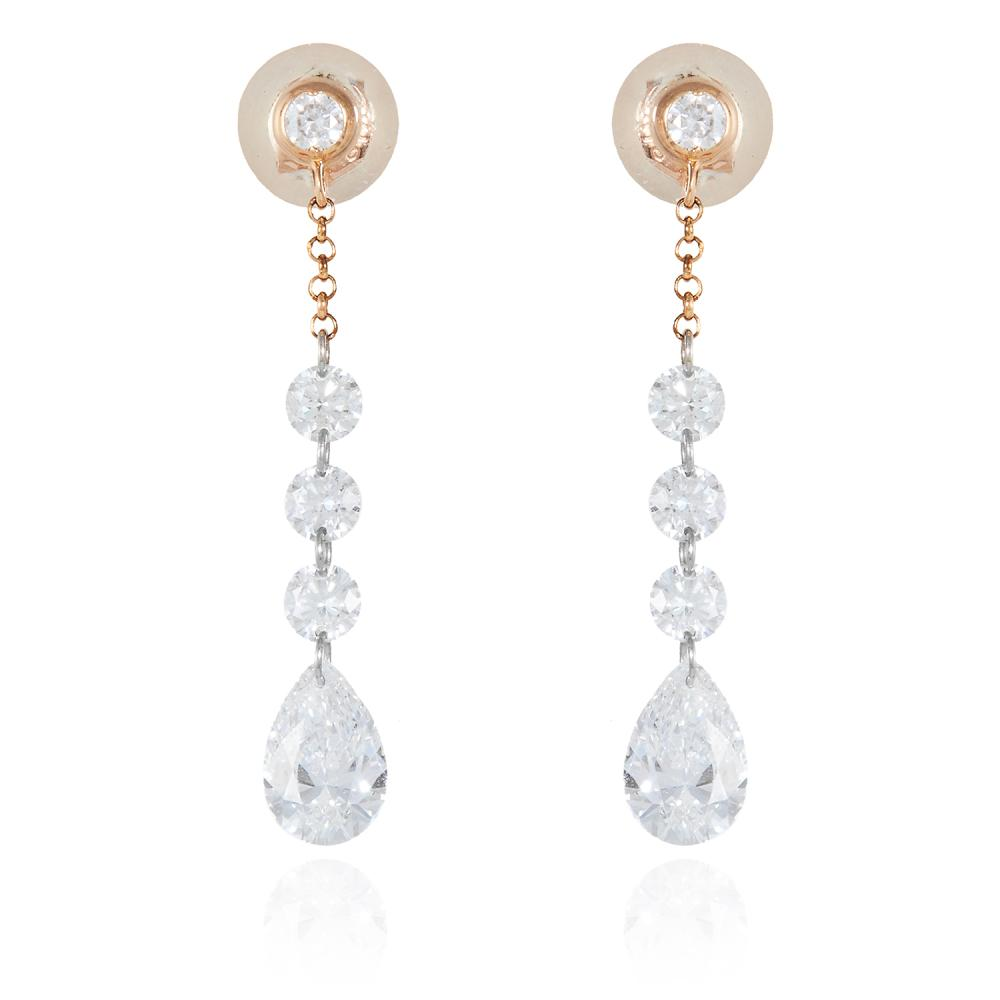 A PAIR OF 1.55 CARAT DIAMOND DROP EARRINGS, HIRSH in 18ct gold, each comprising of four round cut diamonds and a diamond briolette drop totalling 1.55 carats, signed Hirsh, stamped 18K, 0.96g.