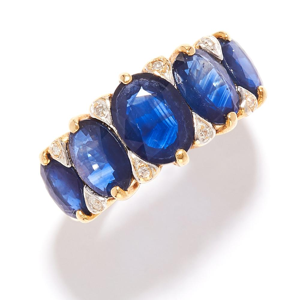 SAPPHIRE AND DIAMOND RING in high carat yellow gold, set with a row of five graduated oval cut sapphires accented by diamonds, unmarked, size M / 6, 4.5g.