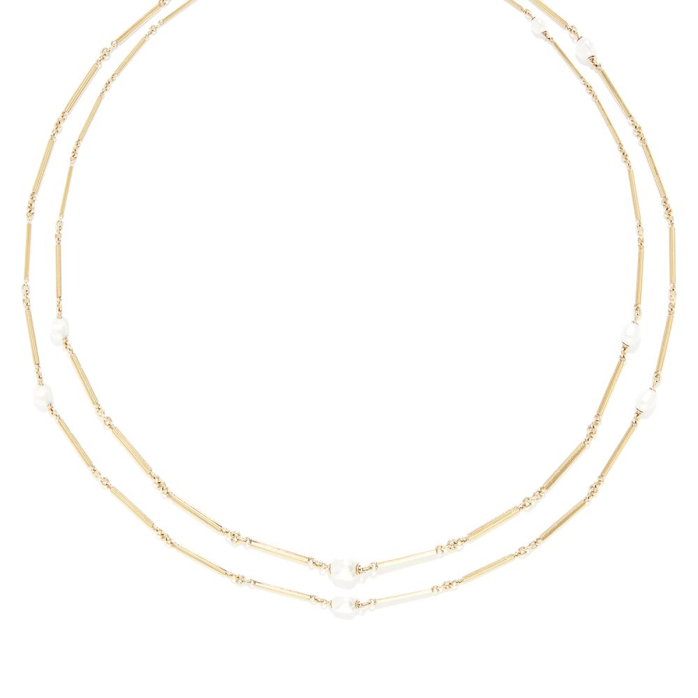 ANTIQUE PEARL LONGCHAIN SAUTOIR NECKLACE in high carat yellow gold, comprising a single row of fancy baton links punctuated by pearls, apparently unmarked, 162.0cm, 42.7g.