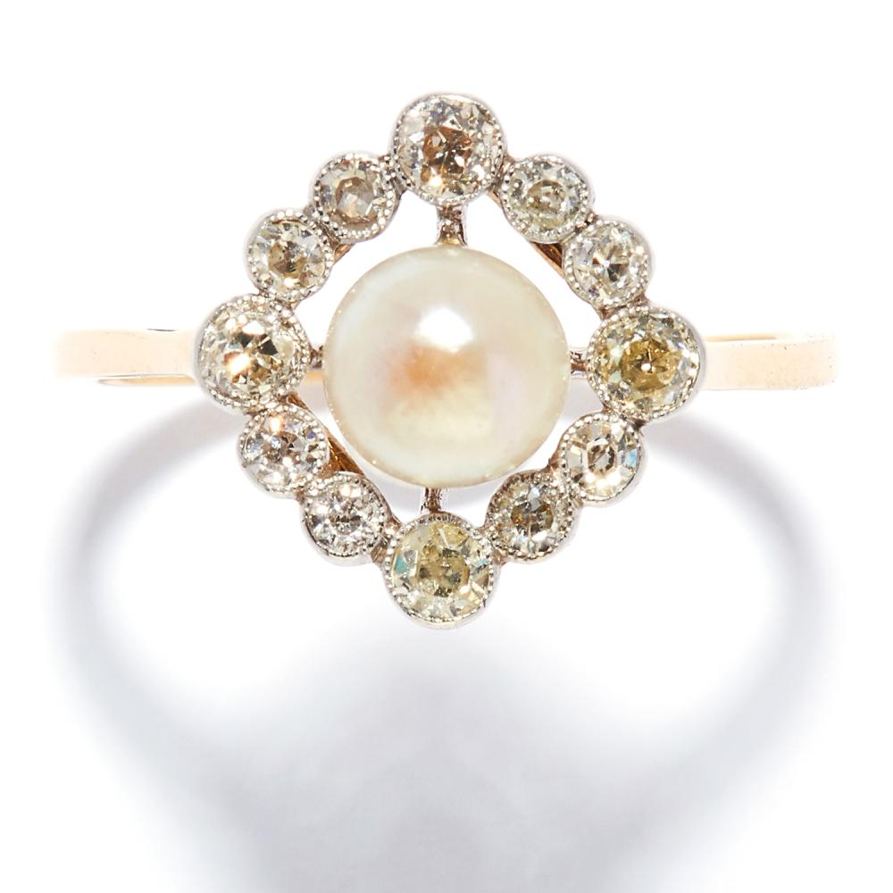 ANTIQUE PEARL AND DIAMOND DRESS RING in high carat yellow gold, set with a pearl of 6.2mm in a cluster of old round cut diamonds, unmarked, size P / 8, 2.42g.