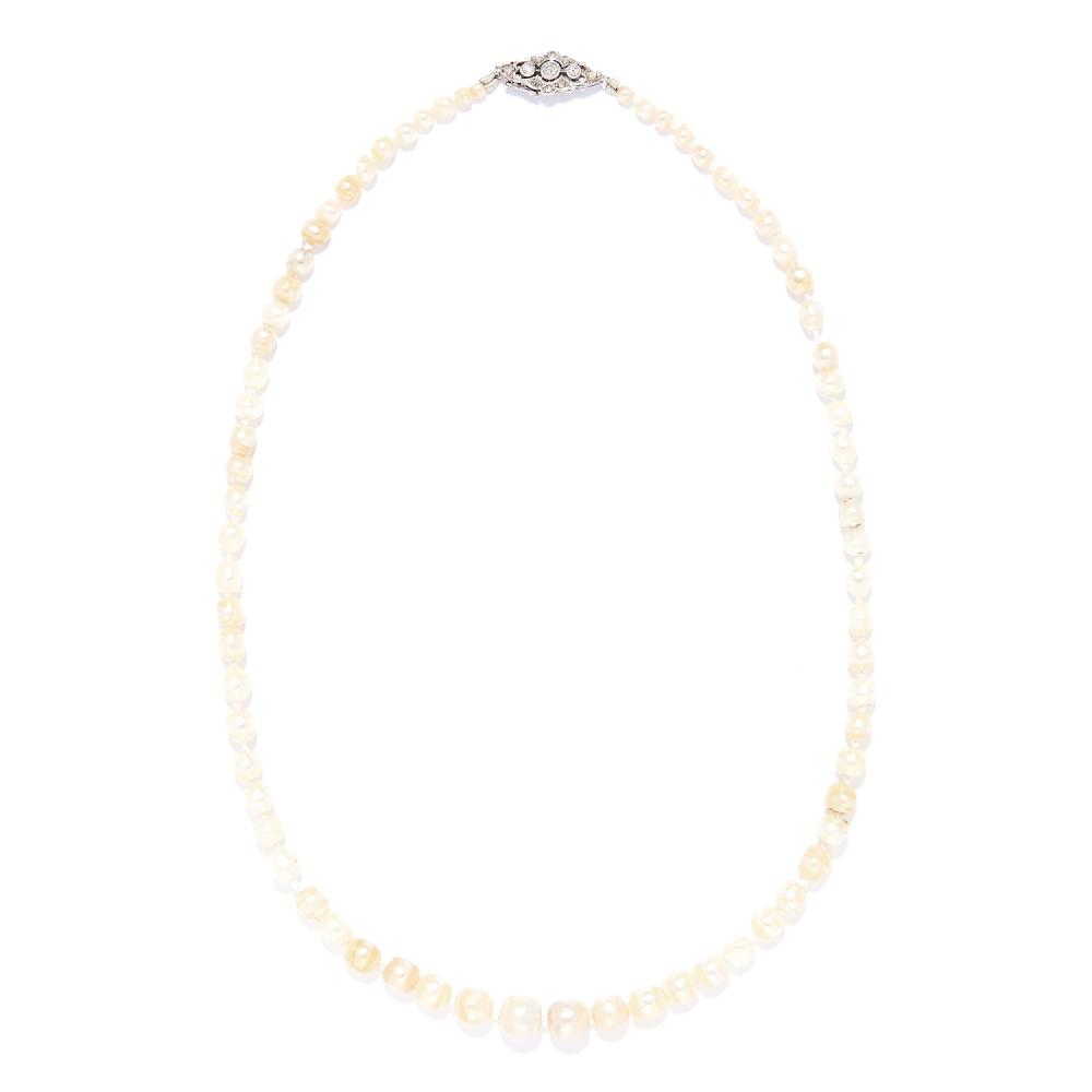 ANTIQUE NATURAL PEARL AND DIAMOND NECKLACE in platinum or white gold, comprising a single row of seventy-one pearls 3.0-8.1mm, on a diamond clasp, marked indistinctly, 42.0cm, 15.2g. Gem & Pearl Lab Report: Natural, Saltwater origin.