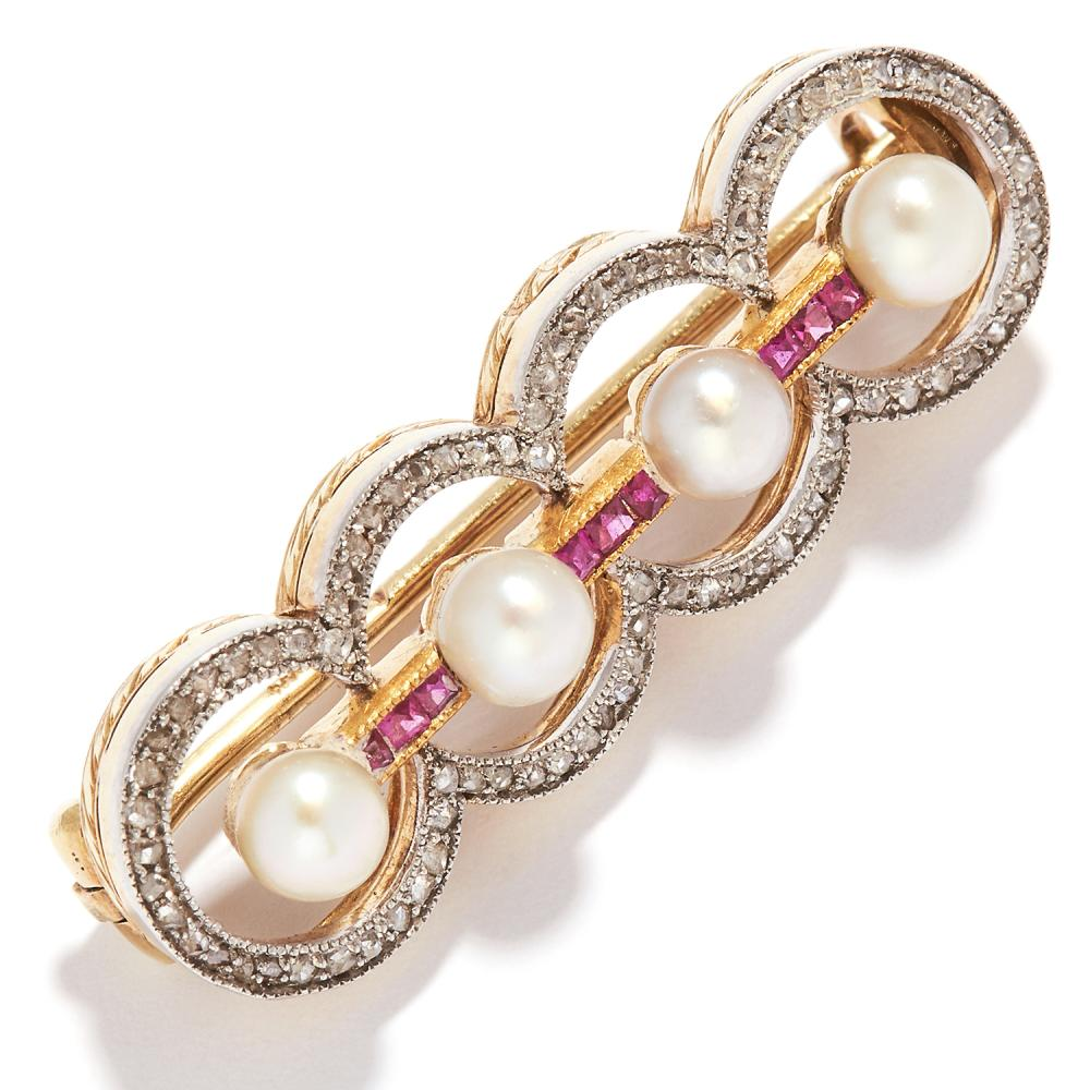 ANTIQUE IMPERIAL RUSSIAN PEARL, RUBY AND DIAMOND BROOCH, CIRCA 1910 in 56 zolotnik gold, set with four pearls between rubies, within circular diamond borders, Russian marks, 3.4cm, 5.1g.