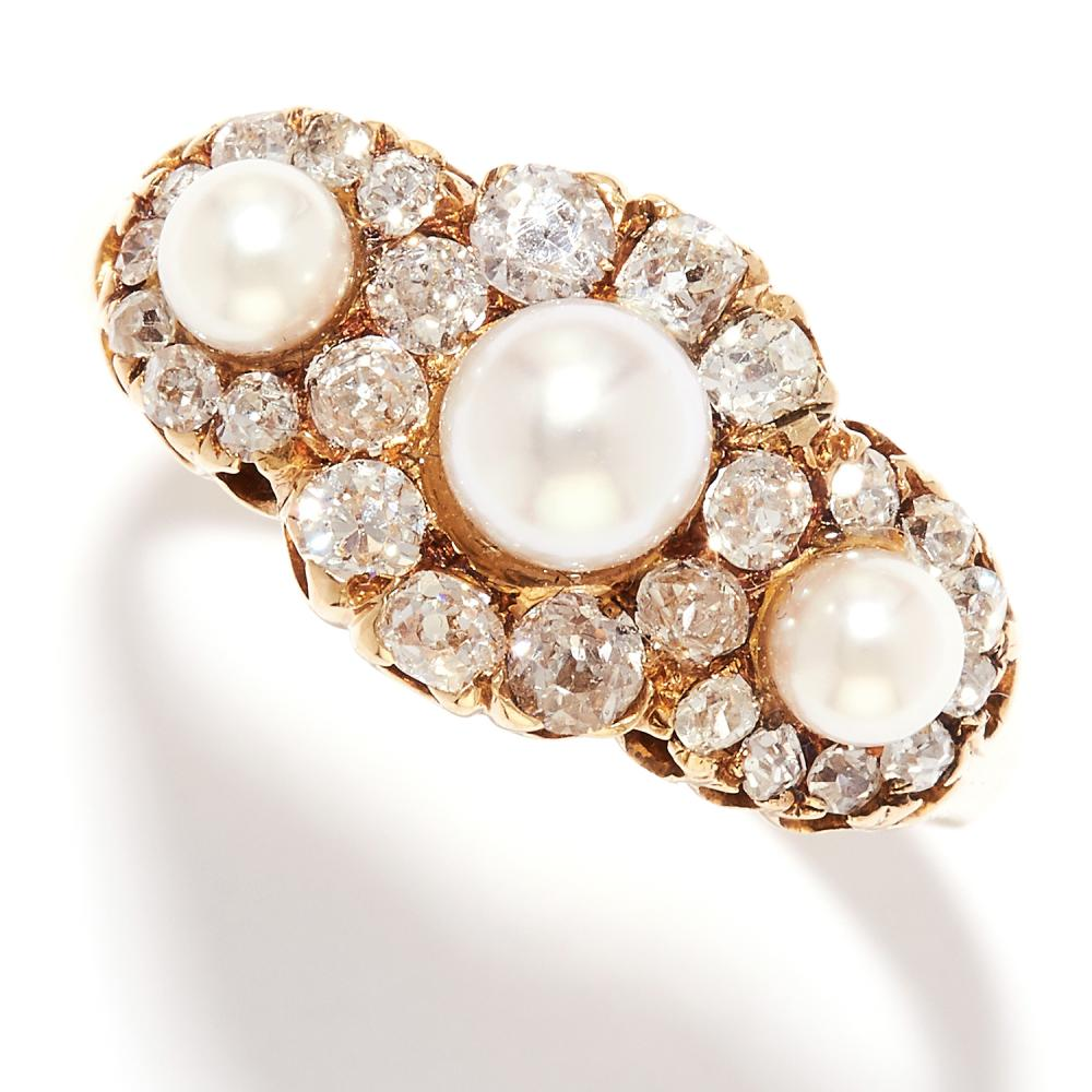 PEARL AND DIAMOND DRESS RING in 18ct yellow gold, set with three pearls in a cluster of old cut diamonds, stamped 18C, size S / 9, 5.8g.