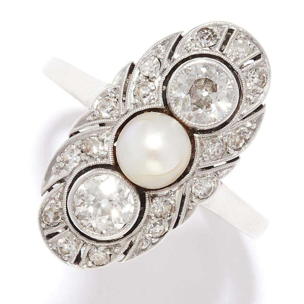 ANTIQUE DIAMOND AND PEARL DRESS RING in 14ct yellow gold, in Art Deco design, set with a pearl and round cut diamonds, stamped 585, size N / 6.5, 3.63g.