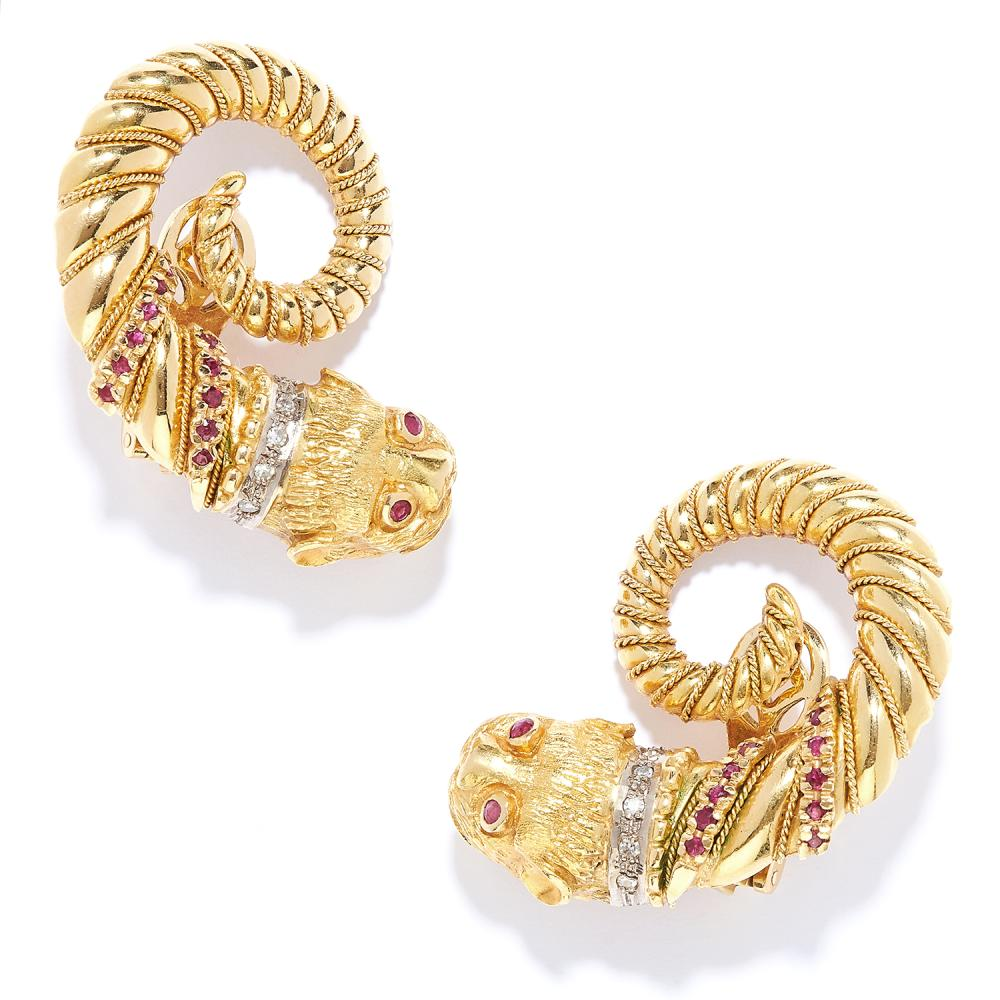 RUBY AND DIAMOND LION CLIP EARRINGS, LALAOUNIS in 18ct yellow gold, in Etruscan revival style, depicting a lion, set with round cut rubies and diamonds, stamped 750, 4.1cm, 35.4g.