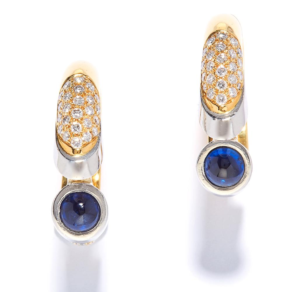 A PAIR OF SAPPHIRE AND DIAMOND HOOP EARRINGS in yellow gold, each set with a cabochon sapphire and round cut diamonds, marked indistinctly, 2.3cm, 21.4g.