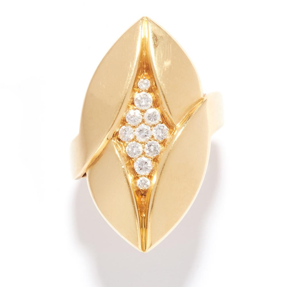 DIAMOND DRESS RING, BULGARI in 18ct yellow gold, the foliate navette face jewelled with round cut diamonds, signed BVLGARI, stamped 750, size M / 6, 13.8g.