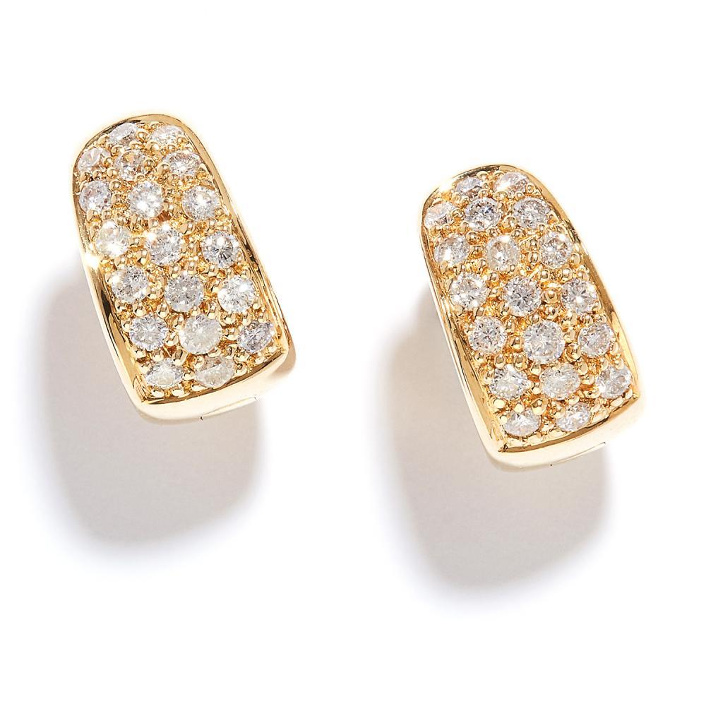 DIAMOND HOOP EARRINGS in 18ct yellow gold, each hoop designed as three half rows of round cut diamonds, stamped 750, 1.2cm, 5.9g.