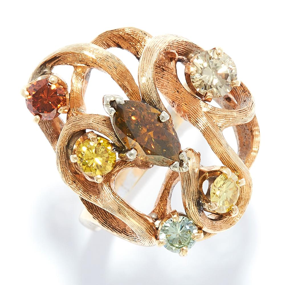 FANCY COLOUR DIAMOND RING in yellow gold, set with six marquise and round cut fancy colour diamonds including yellow, orange, brown, green, etc, unmarked, size M / 6, 10.0g.