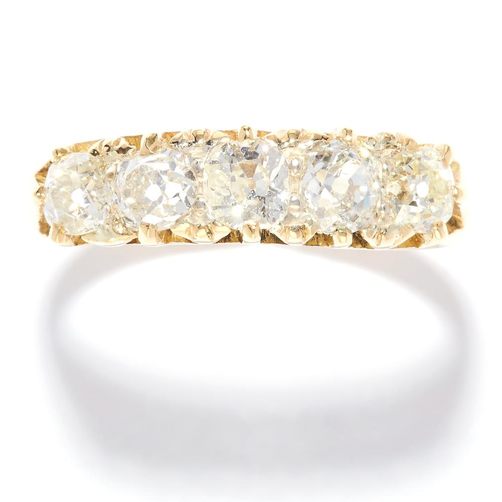 ANTIQUE 1.85 CARAT FIVE STONE DIAMOND RING in 18ct yellow gold, set with five old cut diamonds totalling 1.85 carats, stamped 18CT, size T / 9.5, 4.29g.