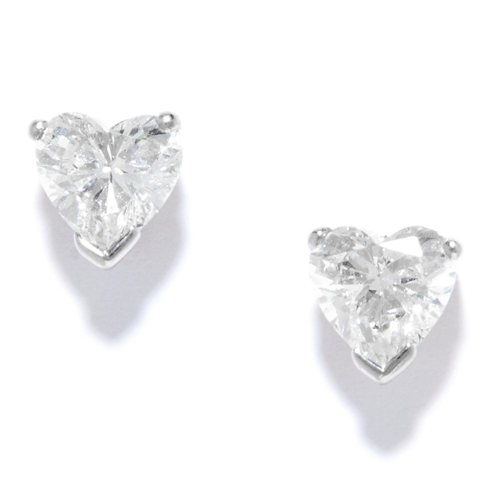 1.50 CARAT DIAMOND HEART STUD EARRINGS in platinum, set with heart cut diamonds totalling approximately 1.50 carats, stamped PT950, 2.8g.