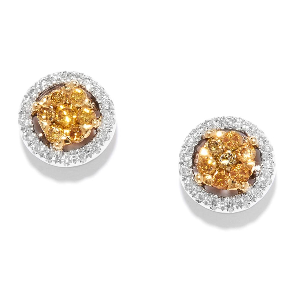 YELLOW AND WHITE DIAMOND STUD EARRINGS in 18ct gold, set with clusters of yellow diamonds within white diamond borders, stamped 750, 0.8cm, 3.0g.