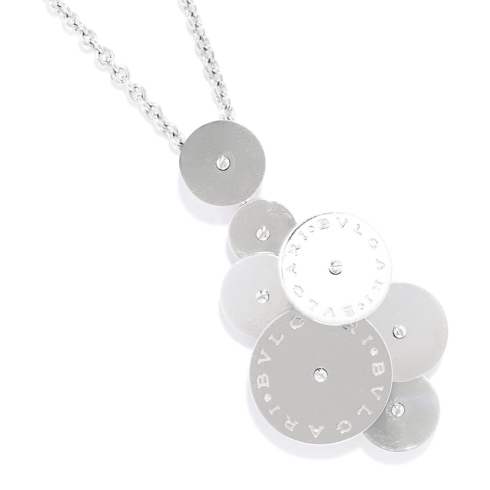 CICLADI SPINNING DISC PENDANT NECKLACE AND CHAIN, BULGARI in 18ct yellow gold, formed of an array of variously sized, articulated discs, on a chain with Bulgari roundel decoration, both signed BVLGARI, stamped 750, 5.4cm, 32.9g.