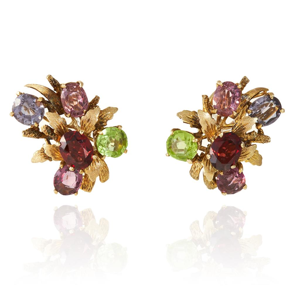 A PAIR OF GEMSET EARRINGS in yellow gold, set with various oval cut gems including garnet, peridot and amethysts, unmarked, 2.9cm, 19.4g.