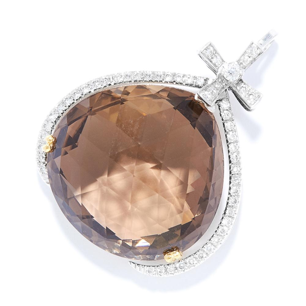 SMOKY QUARTZ AND DIAMOND PENDANT in 18ct white and yellow gold, the pear shaped smoky quartz suspended within a diamond jewelled surround, 3.1cm, 9.5g.