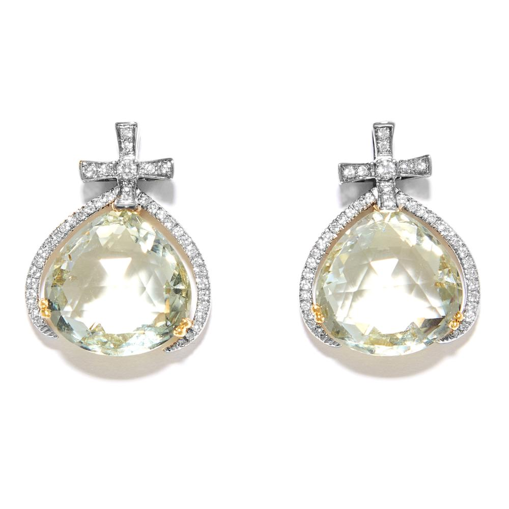 GREEN AMETHYST AND DIAMOND EARRINGS in 18ct white and yellow gold, the pear shaped green amethyst suspended within diamond jewelled borders, stamped 750, 2.1cm, 10.6g.