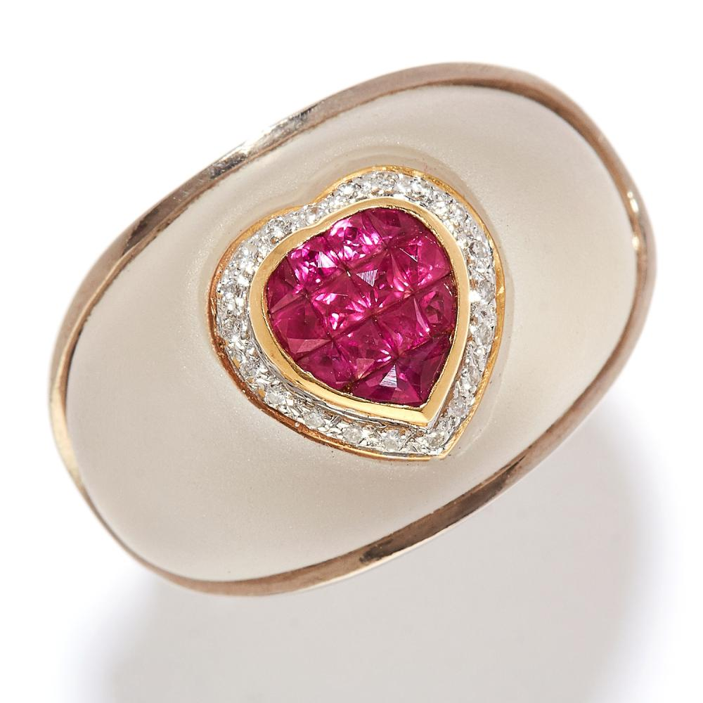 RUBY, DIAMOND AND ROCK CRYSTAL RING in 18ct yellow and white gold, bombe design, the rock crystal face set with a heart motif jewelled with calibre cut rubies and round cut diamonds, full British hallmarks, size N / 6.5, 17.8g.