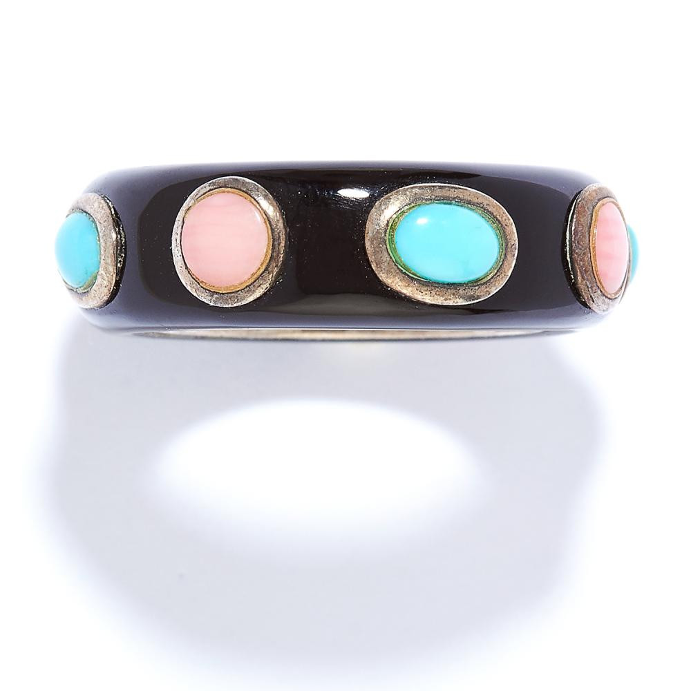 TURQUOISE, HARDSTONE AND ENAMEL RING in sterling silver, the black enamel studded with red hardstone and turquoise cabochons, stamped 925, size L / 6, 6.6g.