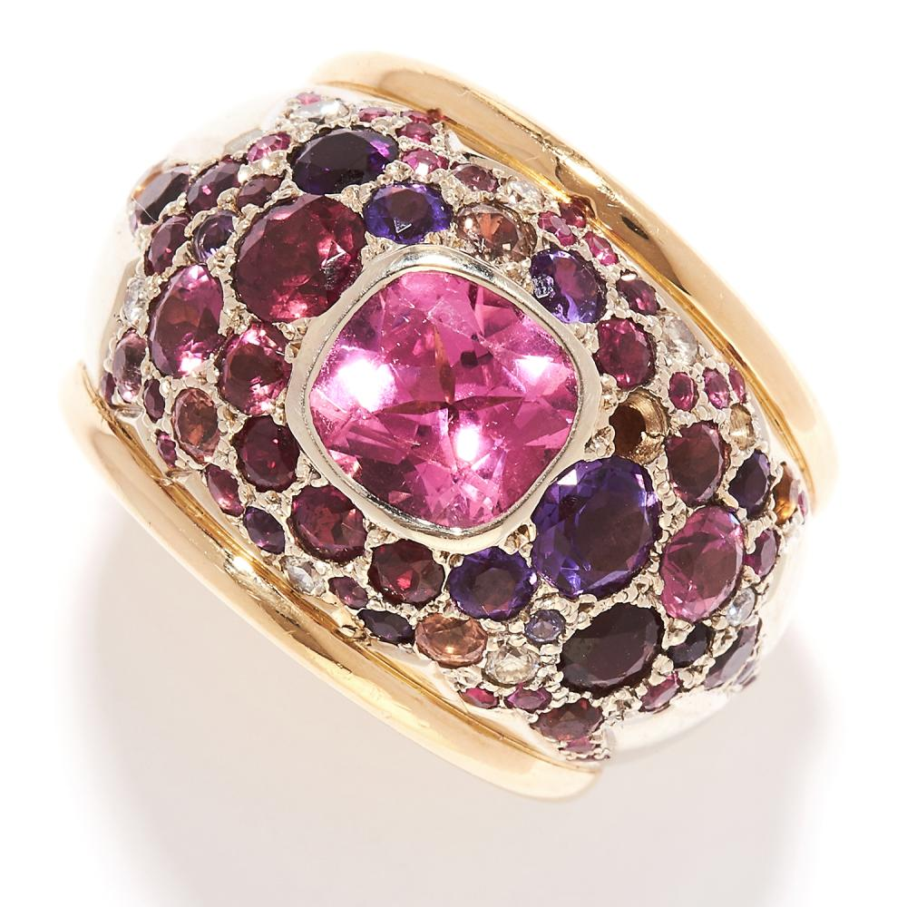 TOURMALINE AND DIAMOND BOMBE RING in 18ct yellow gold, of bombe design, set with a central cushion cut pink tourmaline accented by further tourmalines, diamonds and other gemstones, French marks, size P / 7.5, 29.9g.