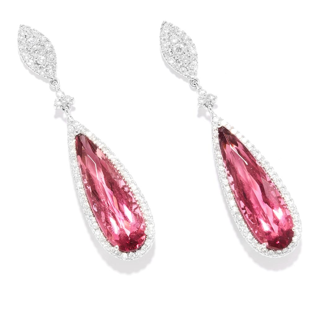 TOURMALINE AND DIAMOND DROP EARRINGS in 18ct white gold, each set with round cut diamonds suspending and bordering a pear cut tourmaline, stamped 750, 4.5cm, 9.60g.