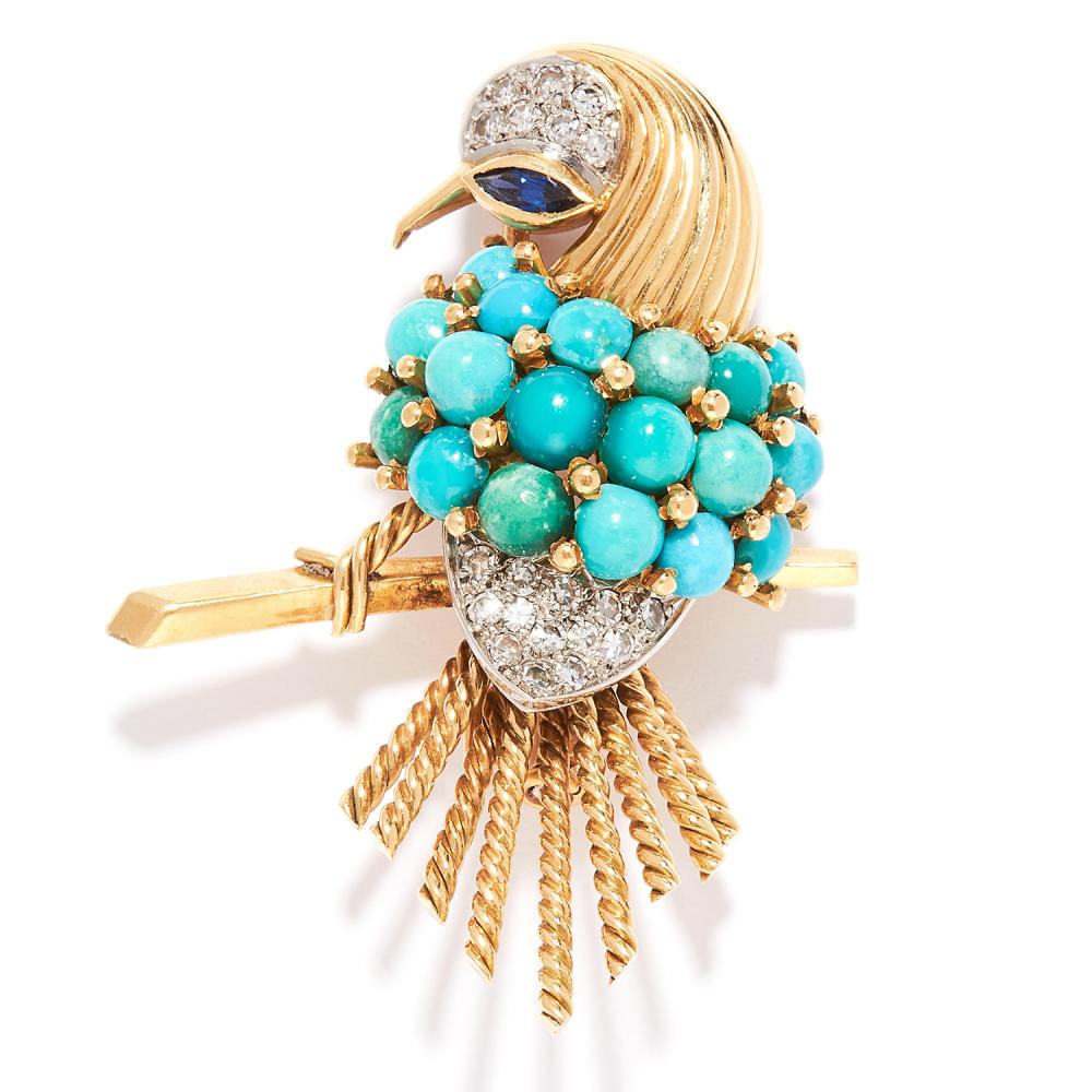 VINTAGE TURQUOISE, SAPPHIRE AND DIAMOND BIRD BROOCH, BOUCHERON in 18ct yellow gold, set with turquoise cabochons, marquise sapphire and round cut diamonds, depicting a bird perched on a branch, signed Boucheron Paris, French marks, 4.5cm, 14.5g.