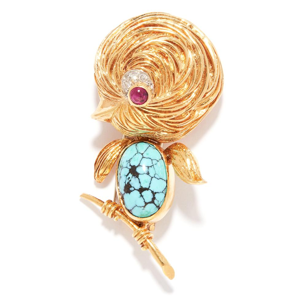 VINTAGE TURQUOISE, RUBY AND DIAMOND BIRD BROOCH, VAN CLEEF & ARPELS in 18ct yellow gold, set with turquoise and ruby cabochons accented by round cut diamonds, depicting a bird perched on a branch, signed Van Cleef & Arpels and numbered,