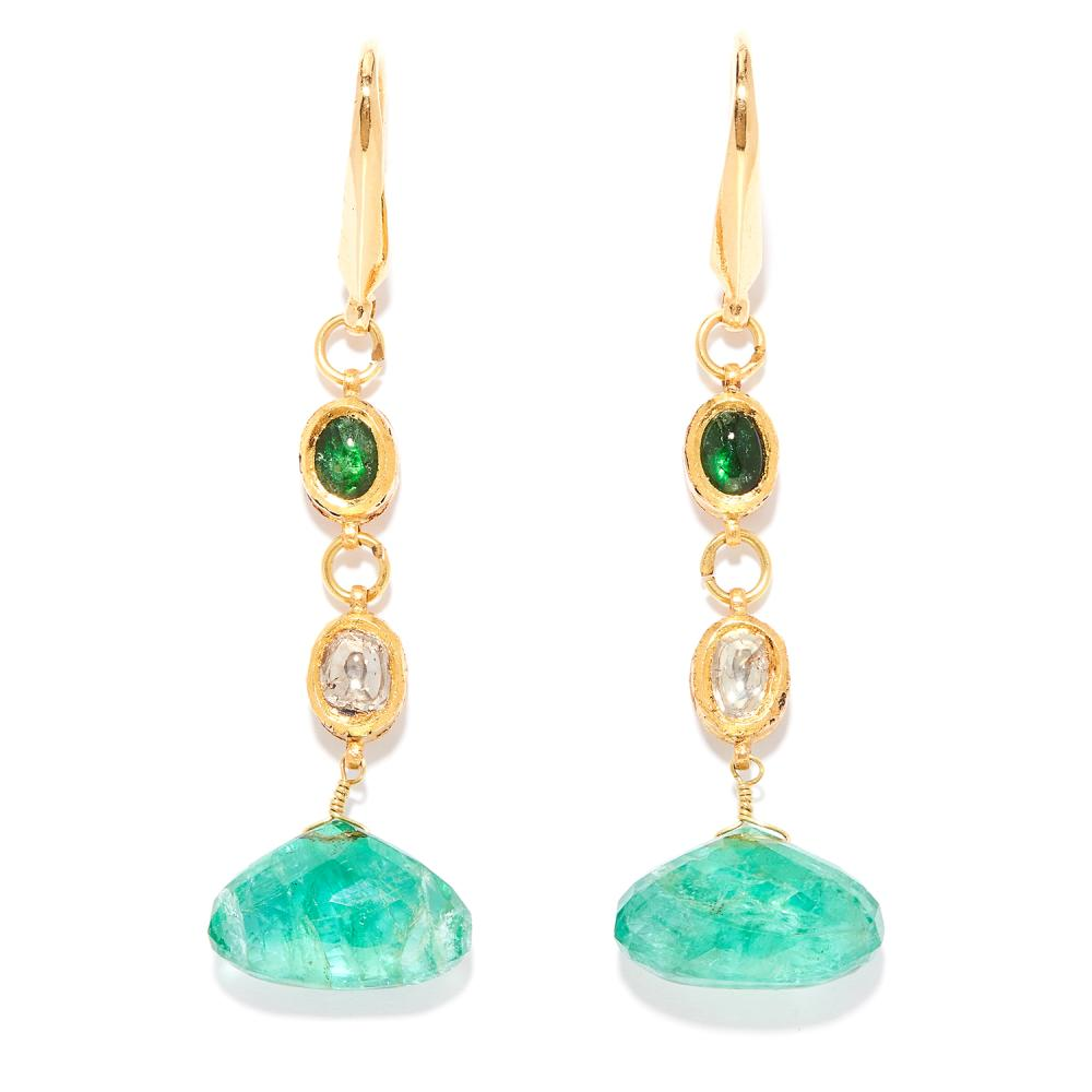 EMERALD AND DIAMOND DROP EARRINGS, INDIAN in high carat yellow gold, each comprising of a cabochon emerald, flat cut diamond and faceted emerald drop, unmarked, 5.7cm, 8.79g.