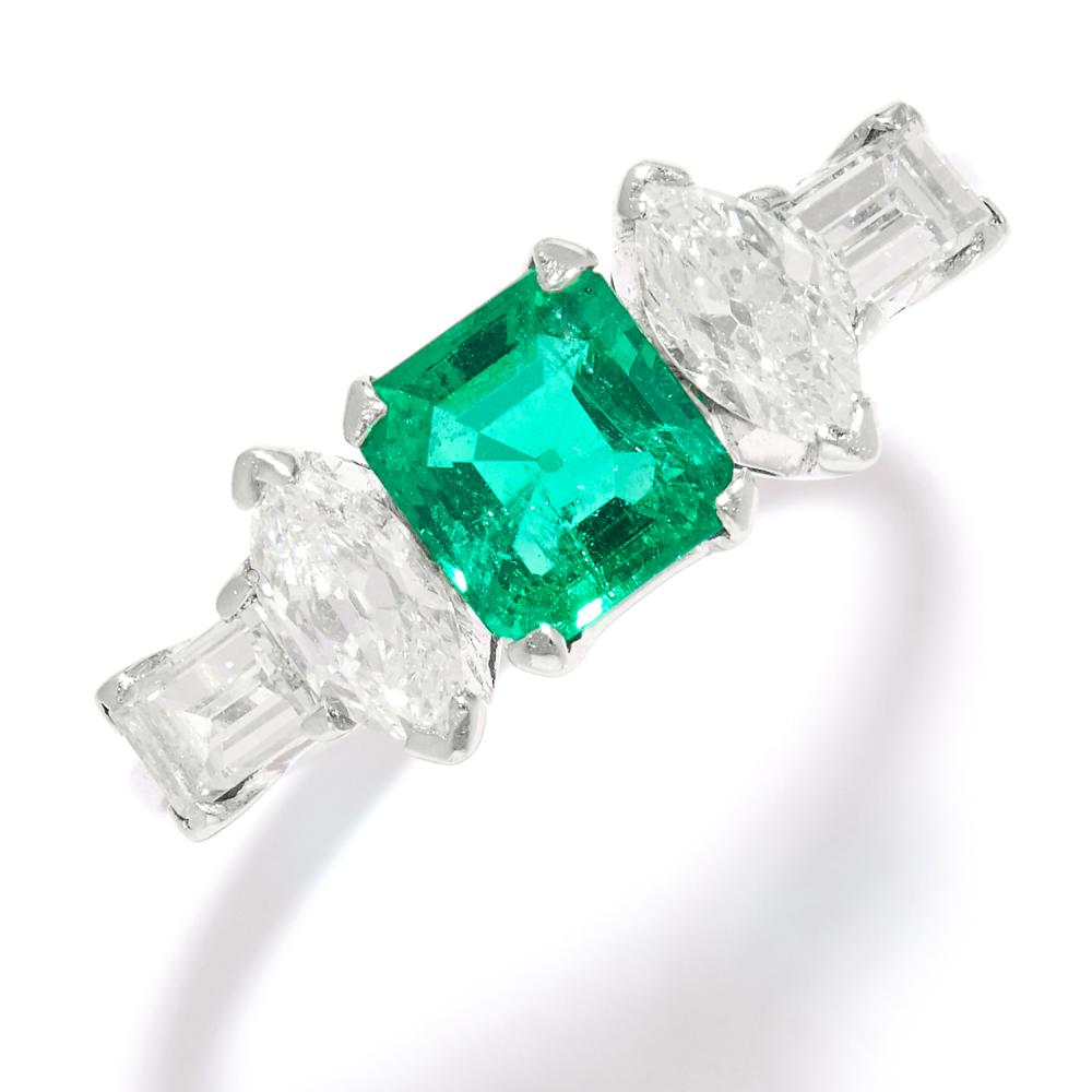 COLOMBIAN EMERALD AND DIAMOND RING in platinum, the step cut emerald of 1.0 carats between marquise and baguette cut diamonds, stamped Platinum, size O / 7.25, 4.8g.