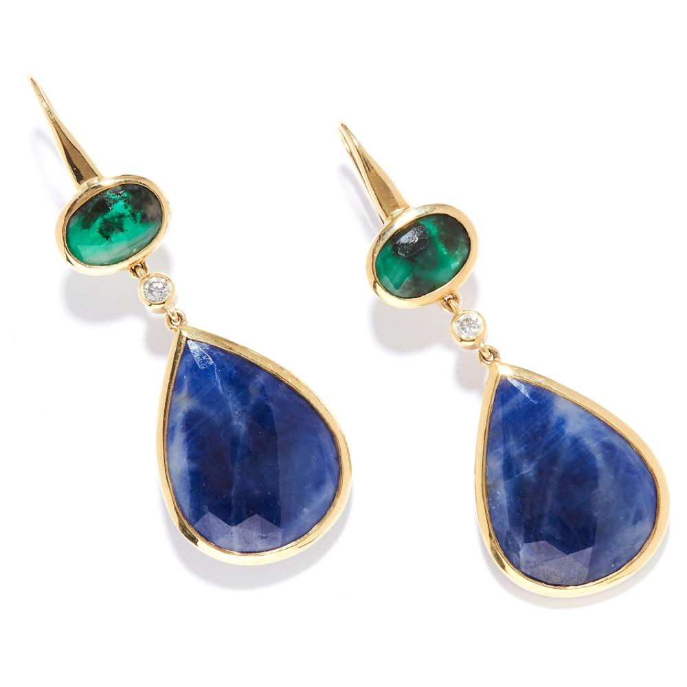 SAPPHIRE, EMERALD AND DIAMOND EARRINGS in 18ct yellow gold, articulated bodies set with rose cut sapphire and emeralds with round cut diamonds, full British hallmarks, 5.9cm, 15.8g.