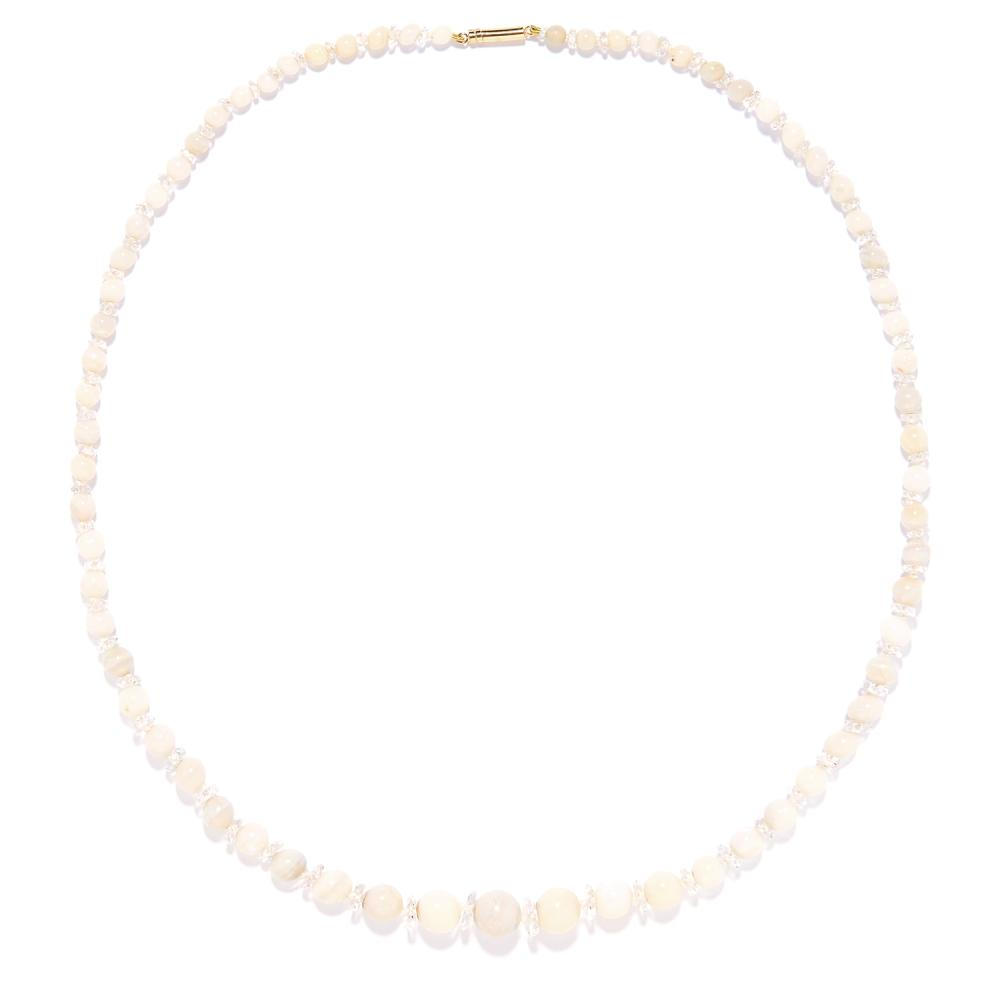 OPAL BEAD AND ROCK CRYSTAL NECKLACE comprising of a single row of opal beads and faceted rock crystals, 55cm, 19.61g.
