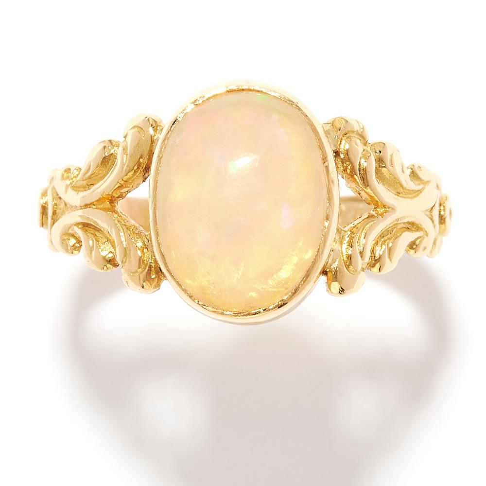 ANTIQUE OPAL DRESS RING in 18ct yellow gold, set with a cabochon opal, British hallmarks, size N / 6.5, 3.3g.