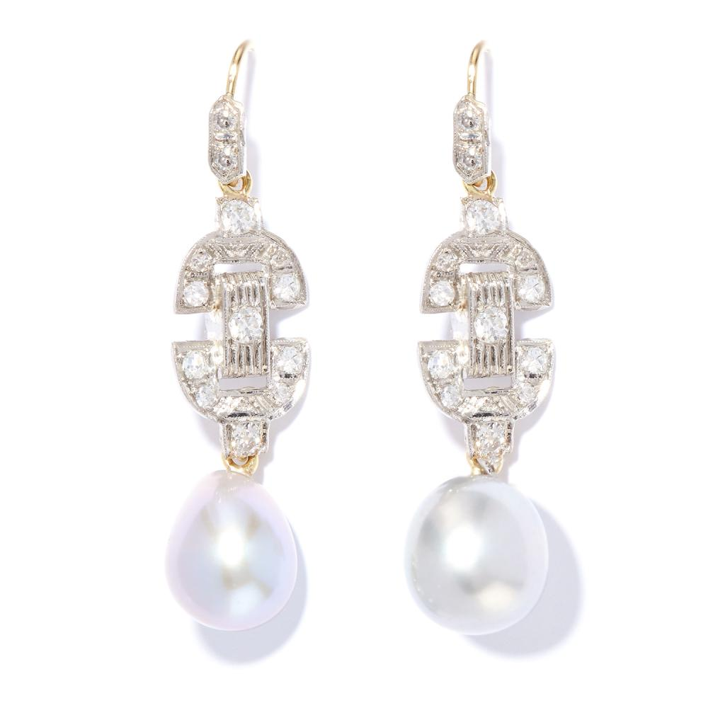 ART DECO PEARL AND DIAMOND DROP EARRINGS in platinum and yellow gold, each suspending a pearl below a diamond motif, unmarked, 4.1cm, 7.3g.