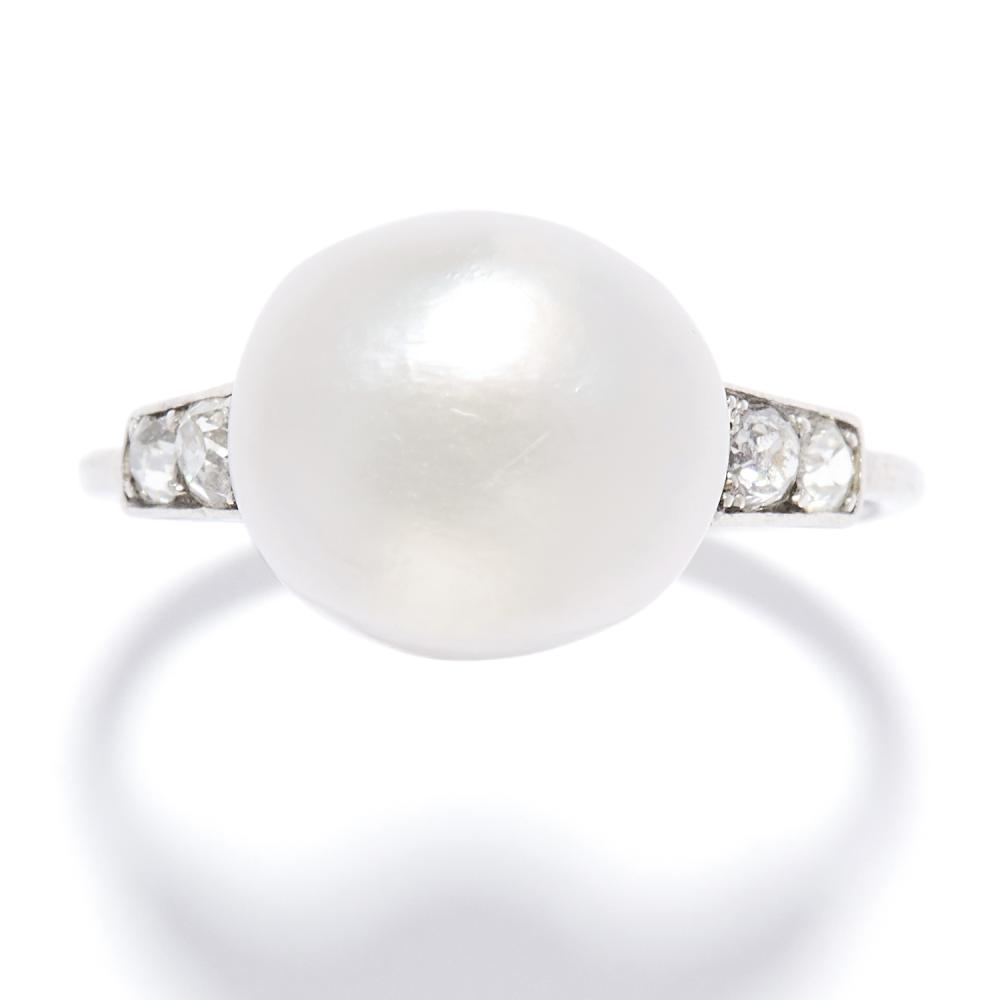 ANTIQUE NATURAL PEARL AND DIAMOND RING in platinum, the pearl of 11.3mm flanked by pairs of old cut diamonds, French marks, size M / 6.25, 3.9g. Gemmological Report: Natural, Saltwater origin.