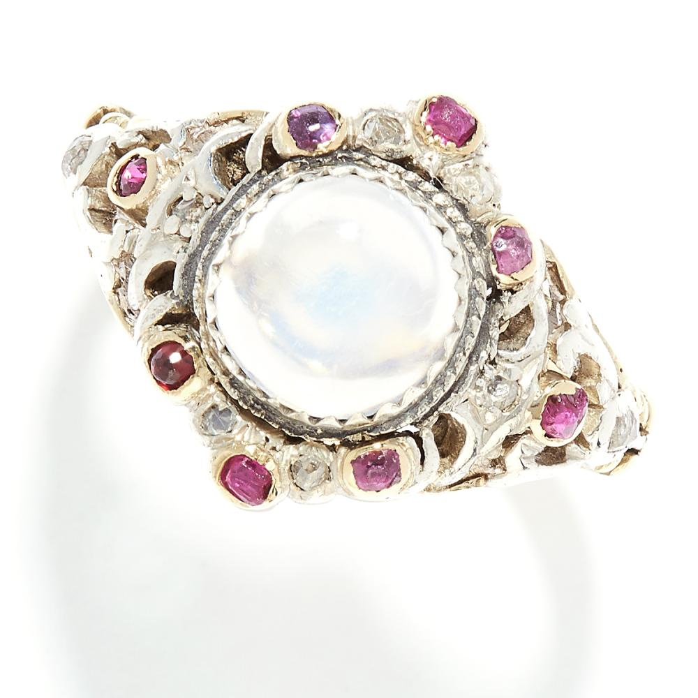MOONSTONE, RUBY AND DIAMOND RING, VICTORIAN in high carat yellow gold, set with a cabochon moonstone, round cut rubies and rose cut diamonds, unmarked, size M / 6, 6.48g.