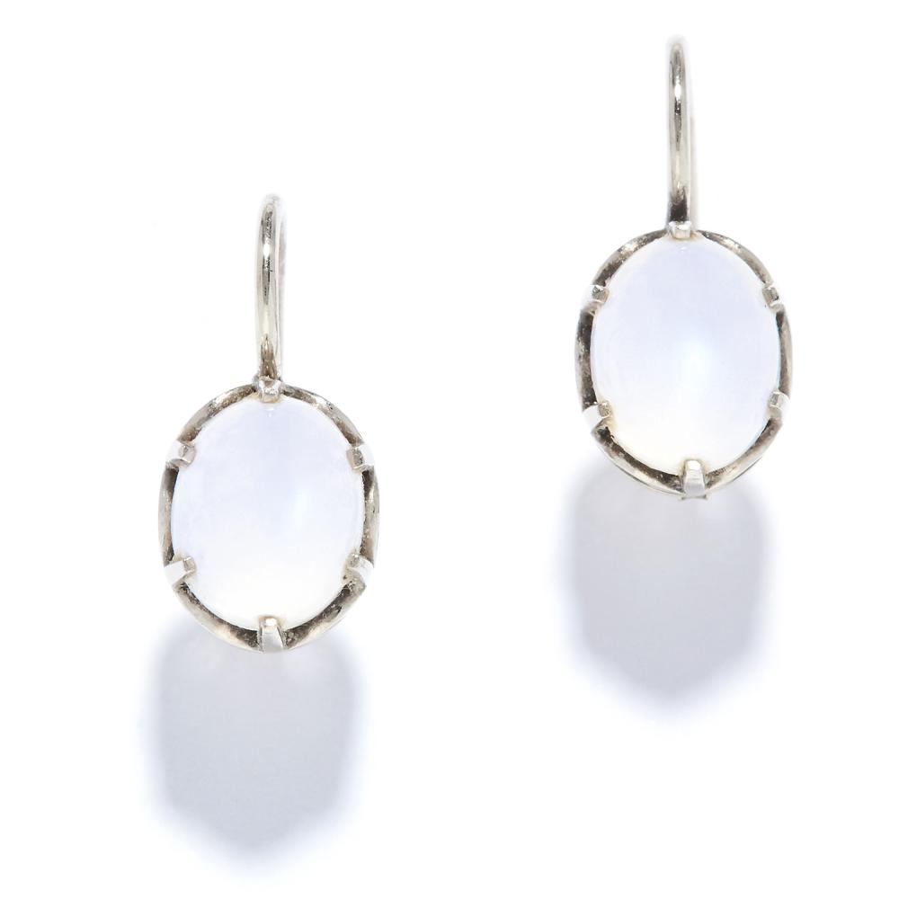A PAIR OF MOONSTONE EARRINGS in 14ct white gold, each set with a cabochon moonstone, stamped 14K, 3.08g.