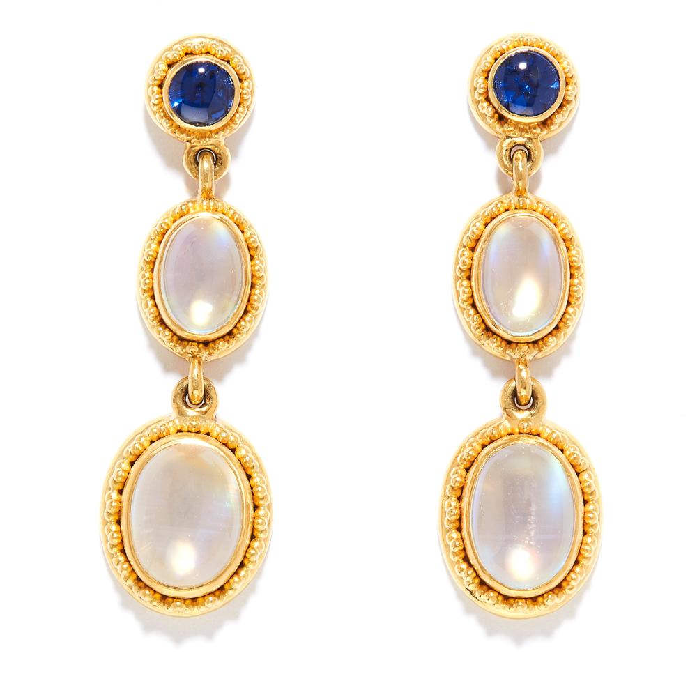 MOONSTONE AND SAPPHIRE DROP EARRINGS in 22ct yellow gold, the three articulated links set with sapphire cabochons and graduated moonstones, stamped 22K, 3.5cm, 11.8g.