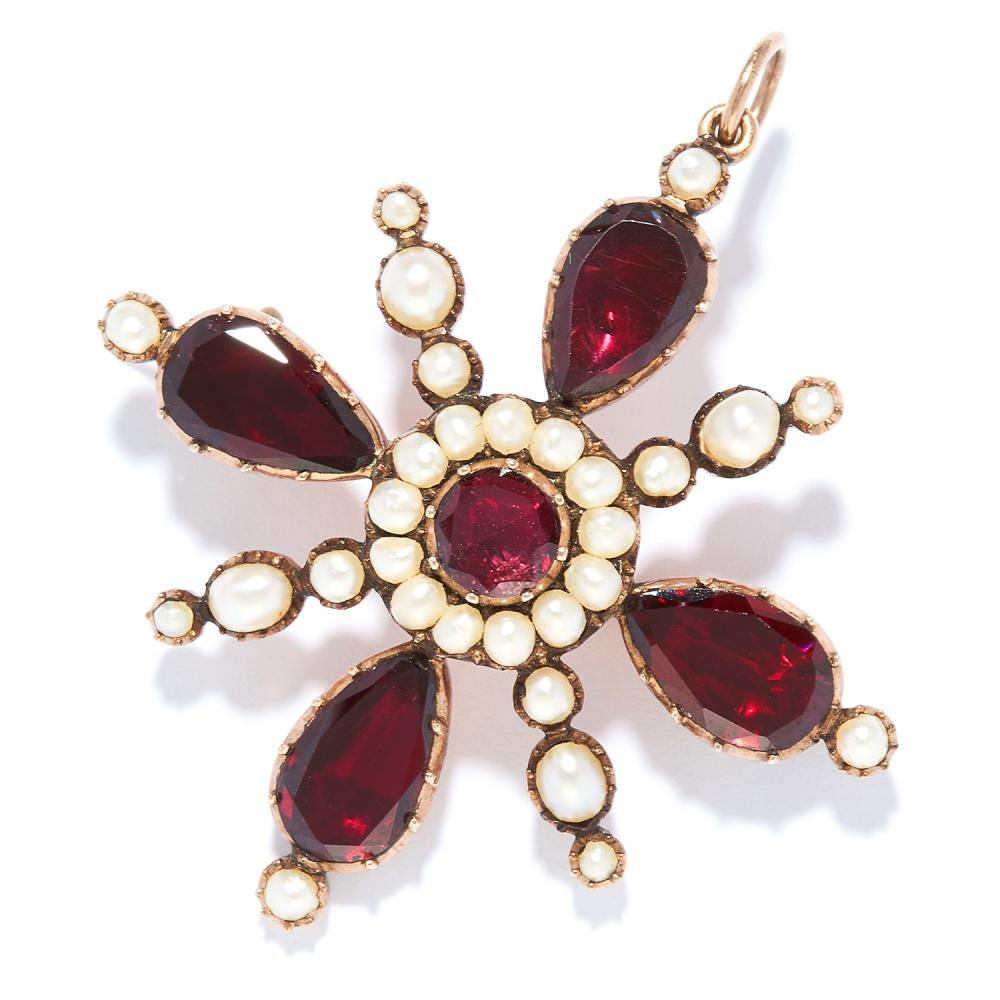 ANTIQUE GARNET AND PEARL PENDANT / BROOCH in yellow gold, set with round and pear cut garnets and seed pearls, unmarked, 4.5cm, 6.65g.