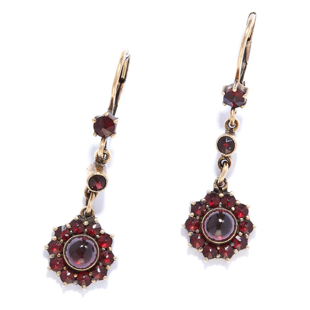ANTIQUE GARNET DROP EARRINGS in yellow gold, set with rose and cabochon garnets in foliate motif, unmarked, 3.8cm 4.39g.